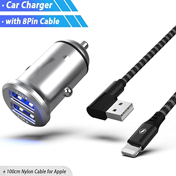 Amazon.com: Mini Dual USB Car Charger Adapter 4.8A Metal Car ...
