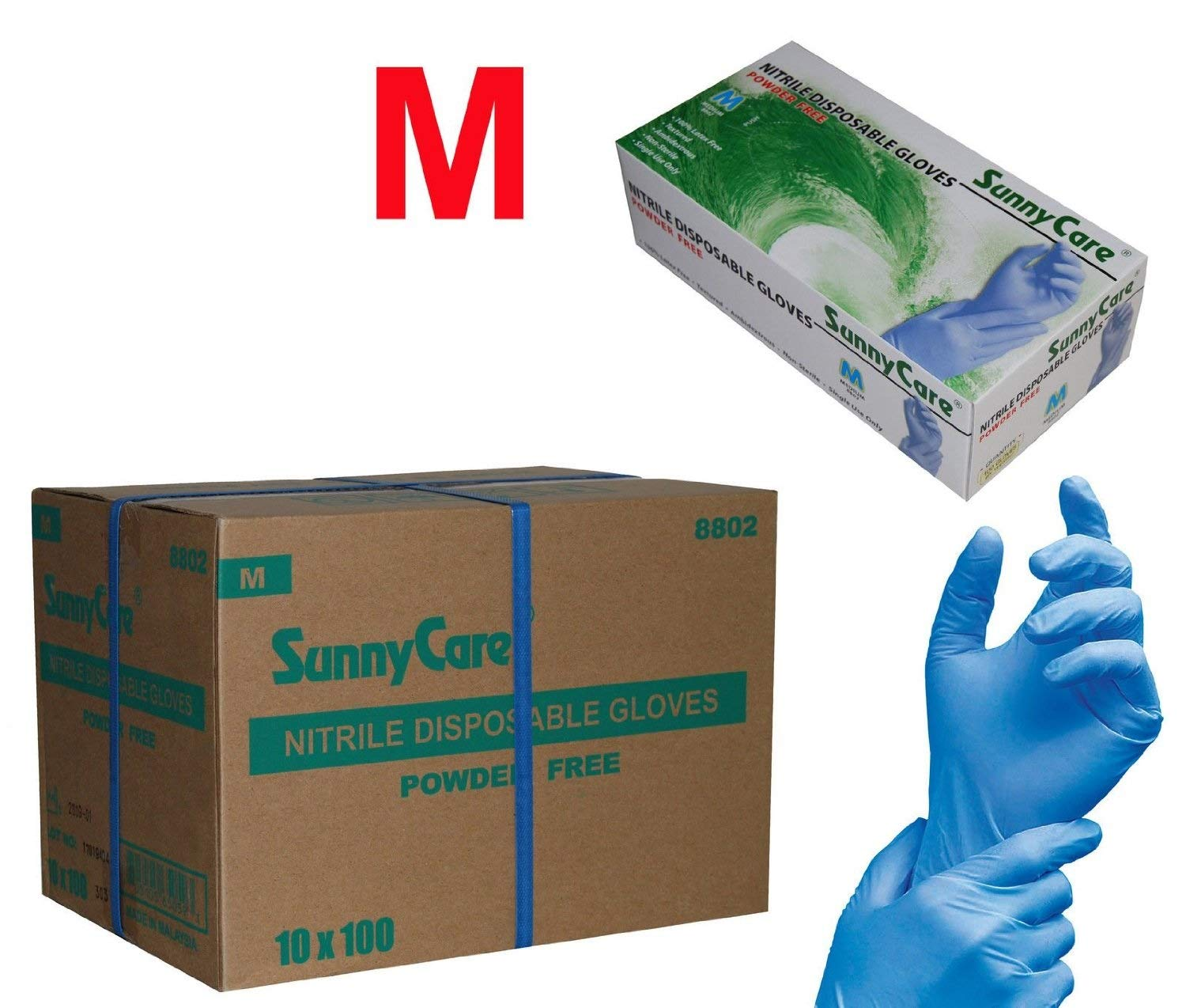 SUNNYCARE #8802 Nitrile Disposable Gloves Powder Free Size: Medium 1000pcs/Case ;100pcs/box;10boxes/case by SunnyCare (Image #1)