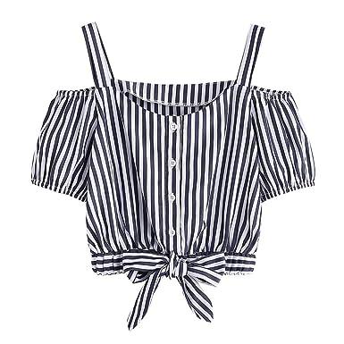 iCerber Camisa De Verano con Rayas Fuera del Hombro, Camiseta Casual con Lazo, Top Holgado   Mujer Senior De Verano   Mujer   Camisa Larga: Amazon.es: Ropa ...