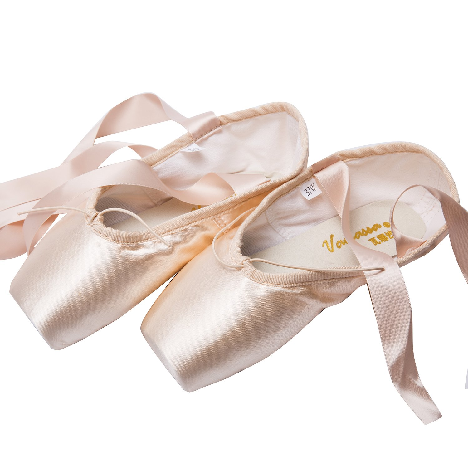 Girls Dance Shoe Professional Level Pink Satin Ballet Pointe Shoes with Ribbon and Toe Pads (US6 (Inner length = 9.25 inch))