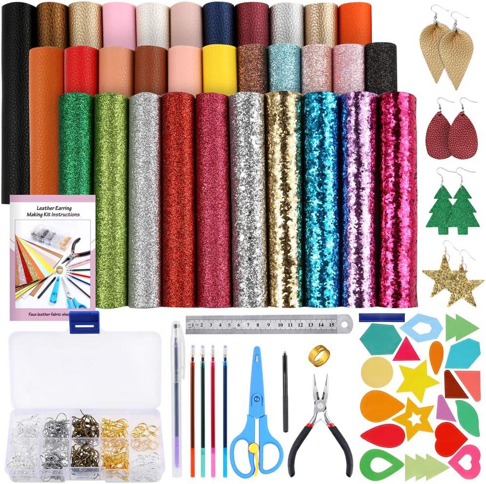 Caydo 32 hojas de tela de piel sintética, incluye ganchos para pendientes, anillos, moldes de corte para pendientes y herramientas para hacer pendientes de piel (6.3 x 8.3 pulgadas)
