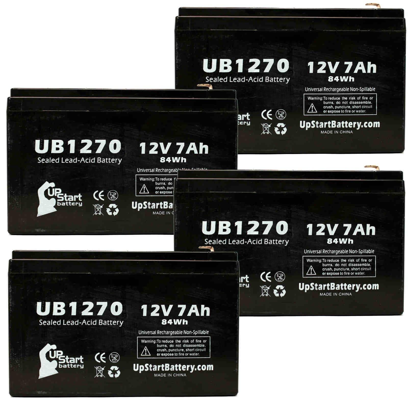 4x Pack - APC SMART-UPS 1500VA USB & SER SUA1500RMUS Battery - Replacement UB1270 Universal Sealed Lead Acid Battery (12V, 7Ah, 7000mAh, F1 Terminal, AGM, SLA) - Includes 8 F1 to F2 Terminal Adapters by UpStart Battery (Image #1)