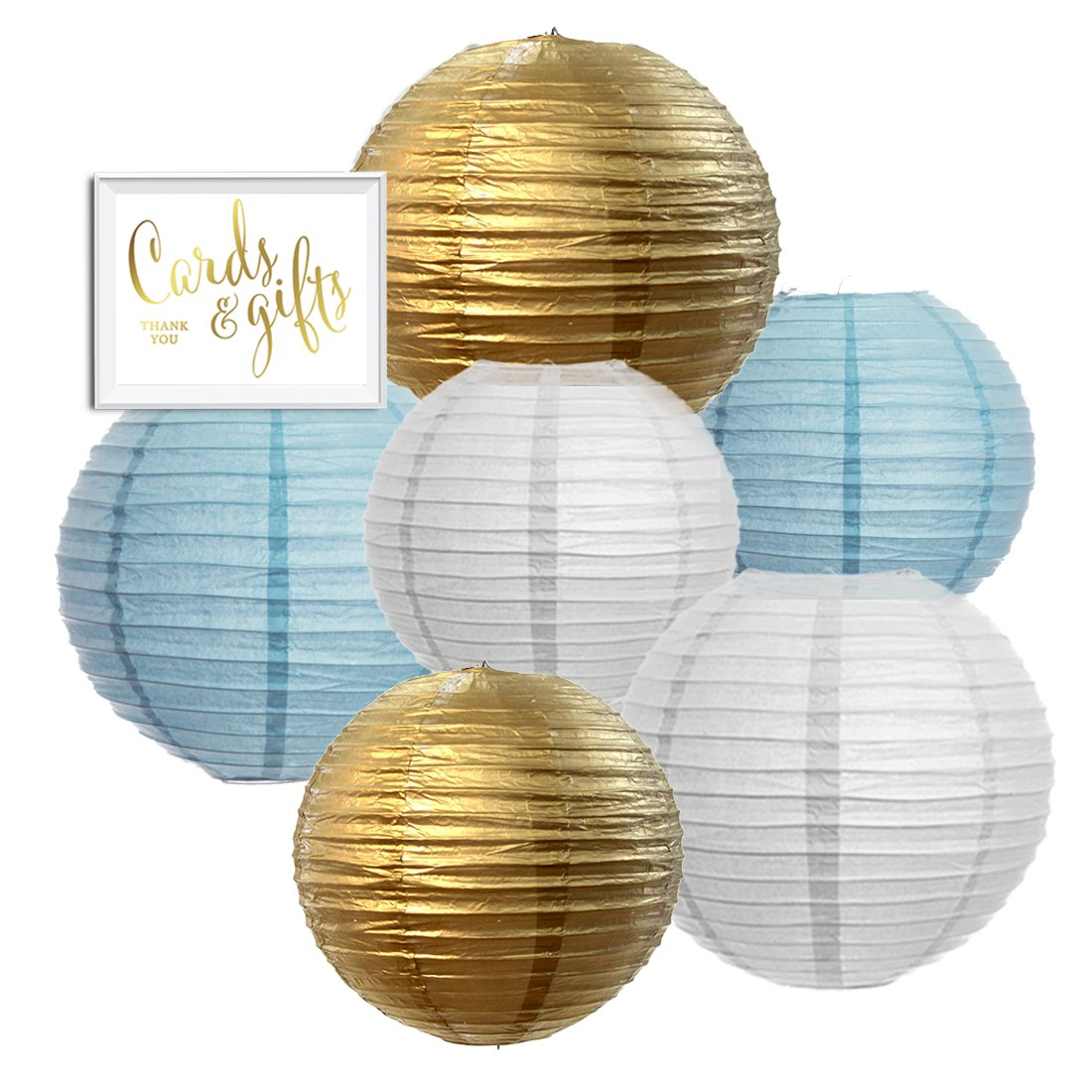 Andaz Press Hanging Paper Lantern Party Decor Trio Kit with Free Party Sign, Gold, Baby Blue, White, 6-Pack, For Boy Baby Shower Baptism Decorations