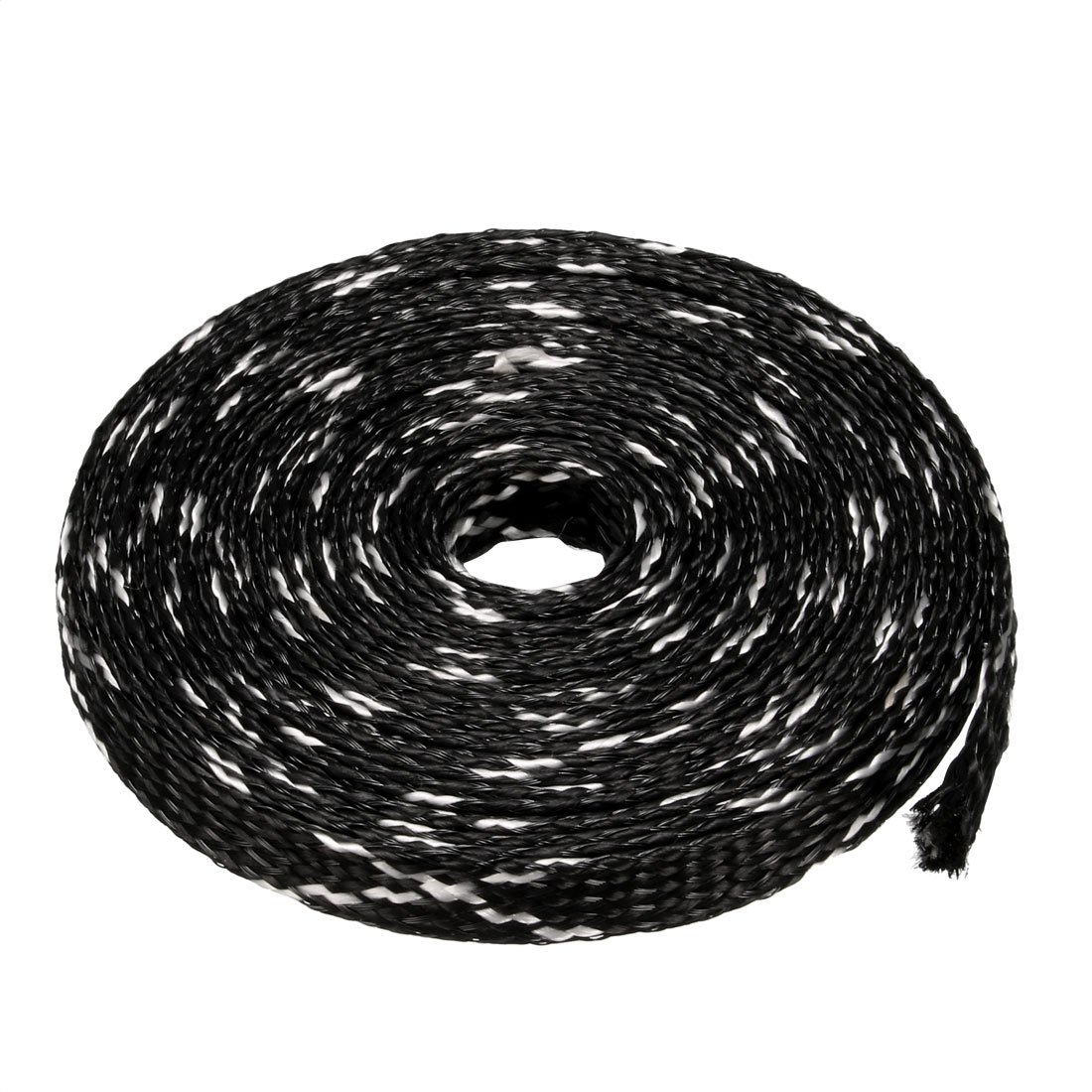 sourcing map PET Braided Sleeving 16.4 Feet 5m Expandable Cable Wrap 12mm Diameter Wire Sheath Black Purple a16101900ux1420