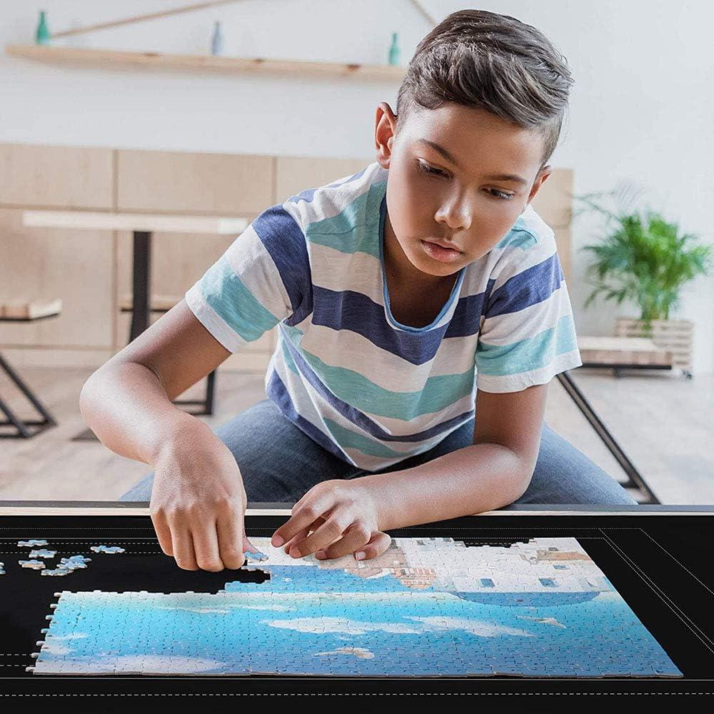 Tappeto per puzzle in feltro blocco puzzle con custodia da viaggio tappetino per puzzle nero fino a 1500 pezzi di puzzle