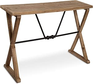Kate and Laurel Travere Wood Console with Black Metal Support Bar, Brown