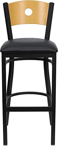 HERCULES Series Black Circle Back Metal Restaurant Bar Stool – Natural Wood Back, Black Vinyl Seat XU-DG-6F6B-CIR-BAR-BLKV-GG