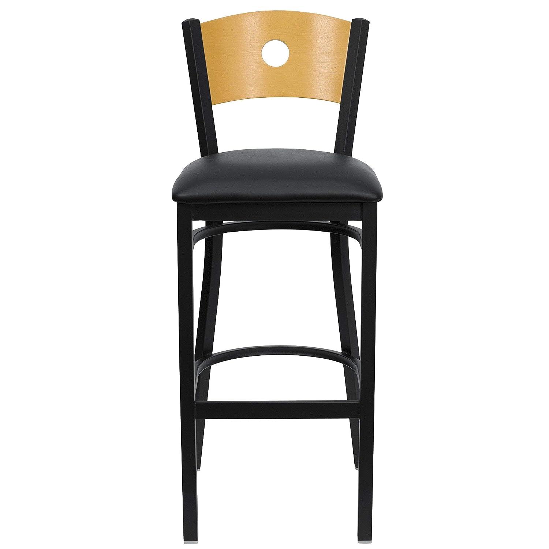 HERCULES Series Black Circle Back Metal Restaurant Bar Stool – Natural Wood Back, Black Vinyl Seat XU-DG-6F6B-CIR-BAR-BLKV-GG