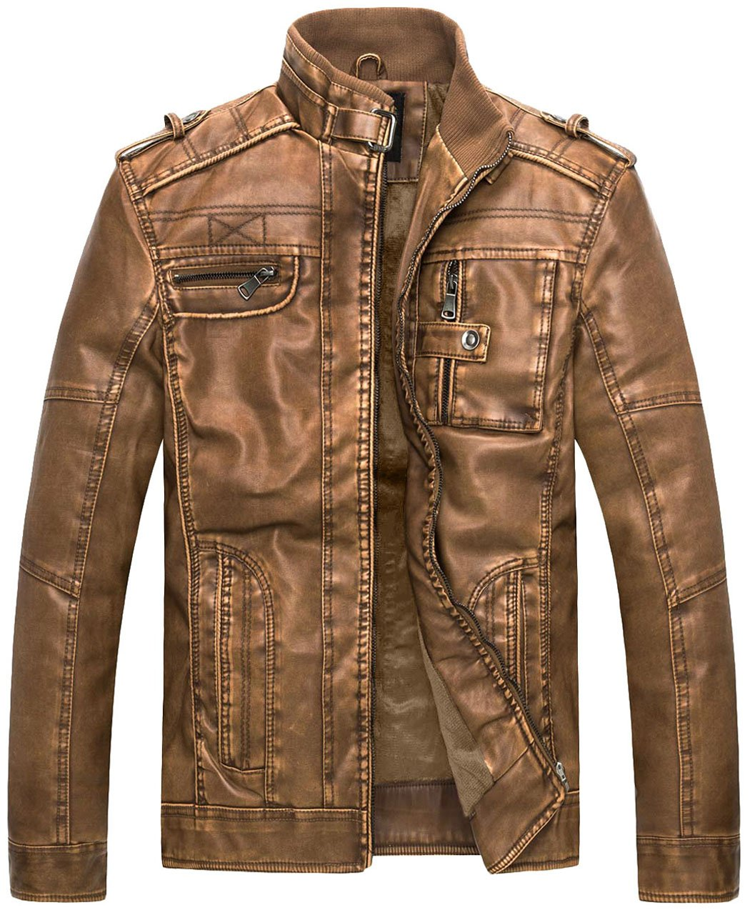 WantDo Men's Vintage Stand Collar Pu Leather Jacket, Camel US Large by Wantdo
