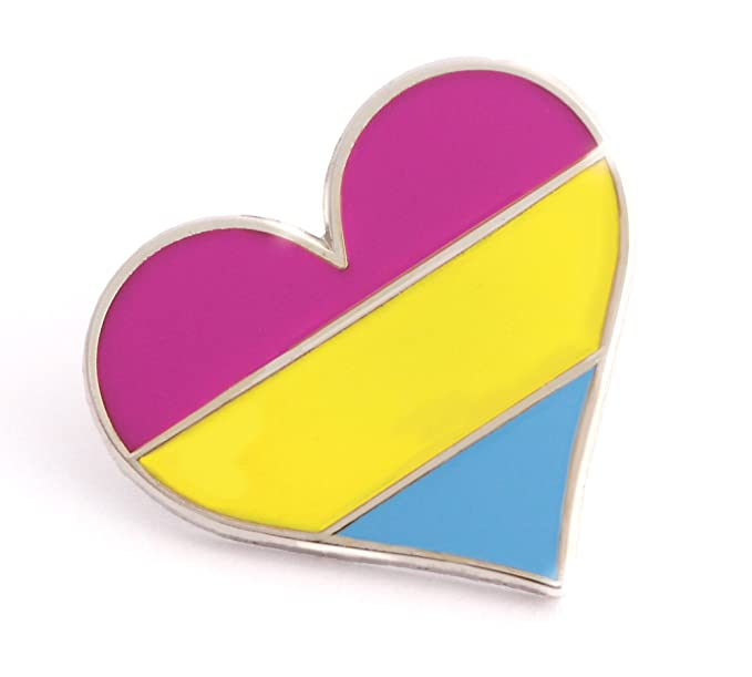 d18d1483ca0 Image Unavailable. Image not available for. Colour: Pansexual Pride Pin  LGBTQ Gay Heart Flag An Enamel ...