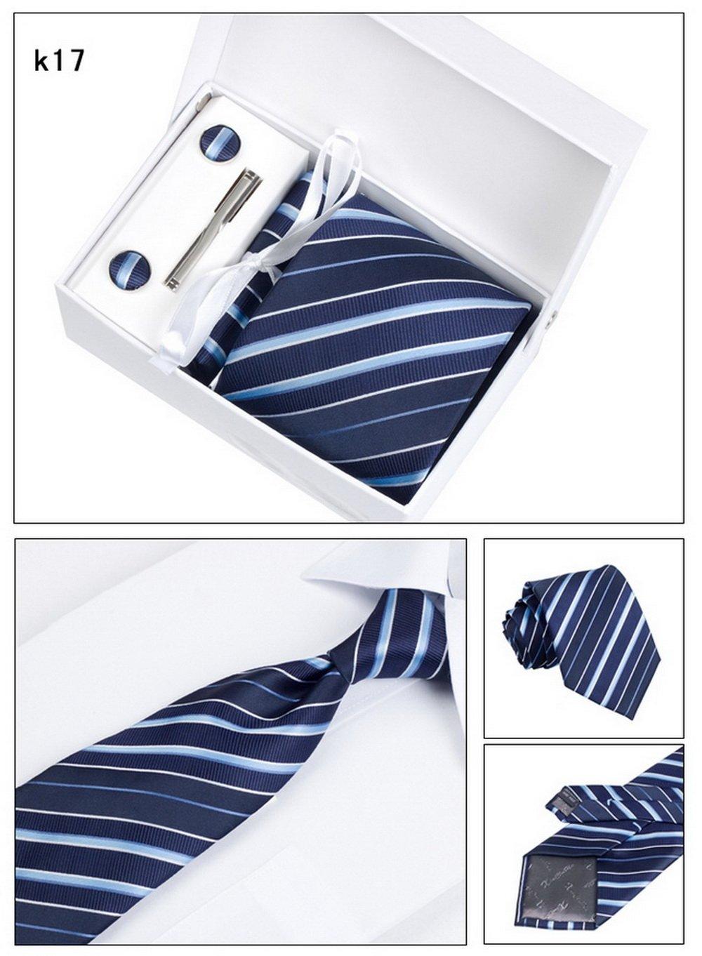 PAHALA Mens Fashion Necktie Cufflinks Tie Bar Pocket Square Set Box (K21) PAHALAK21