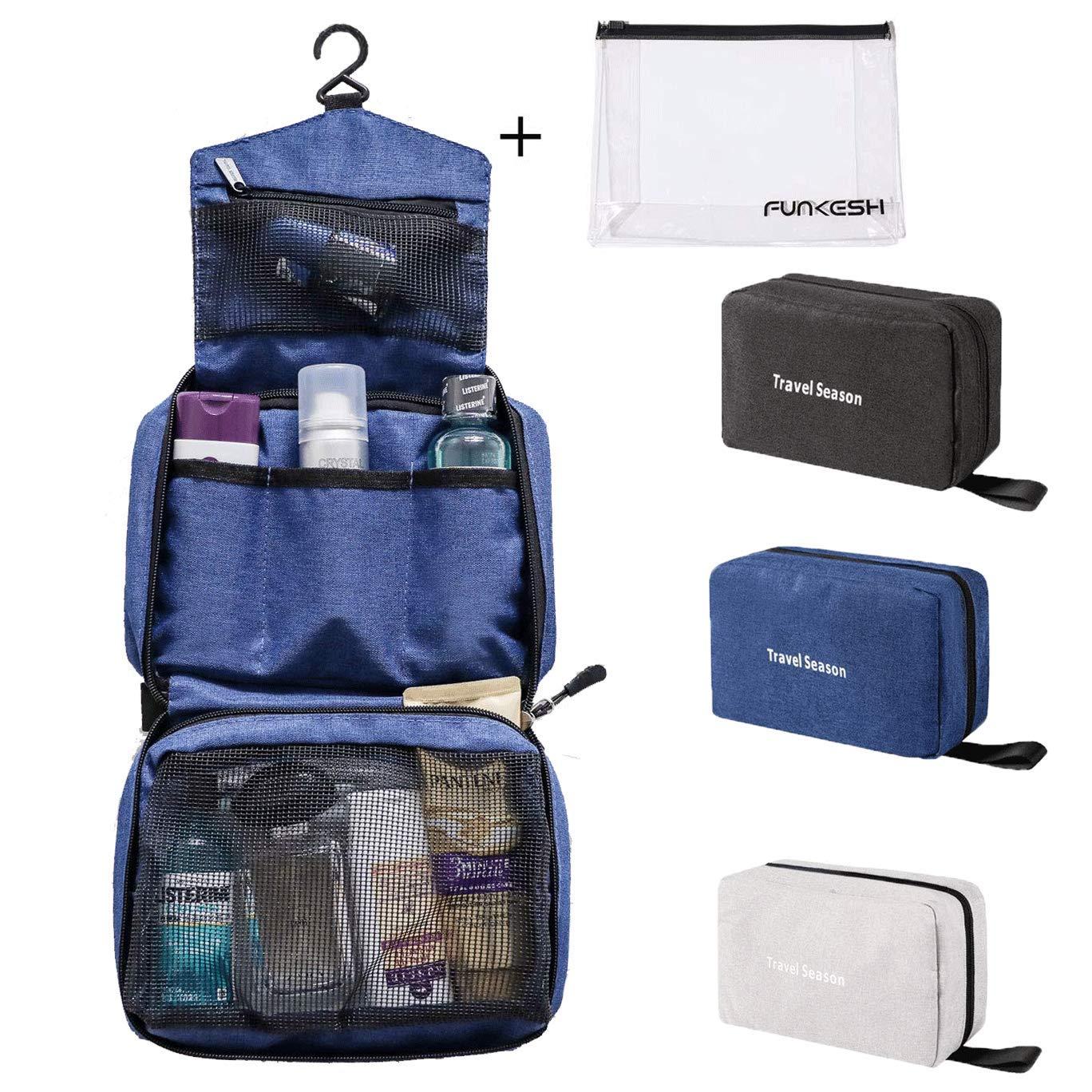 Mens Toiletry Bag Hanging Shaving Travel Dopp Kit Waterproof Organizer Bag Dark Blue