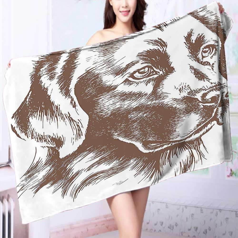 PRUNUS Quick Dry Bath towelLoyal Pet Golden Retriever Dog Best Friend of Human Animal Modern Artwork Brown Absorbent Ideal for Everyday use