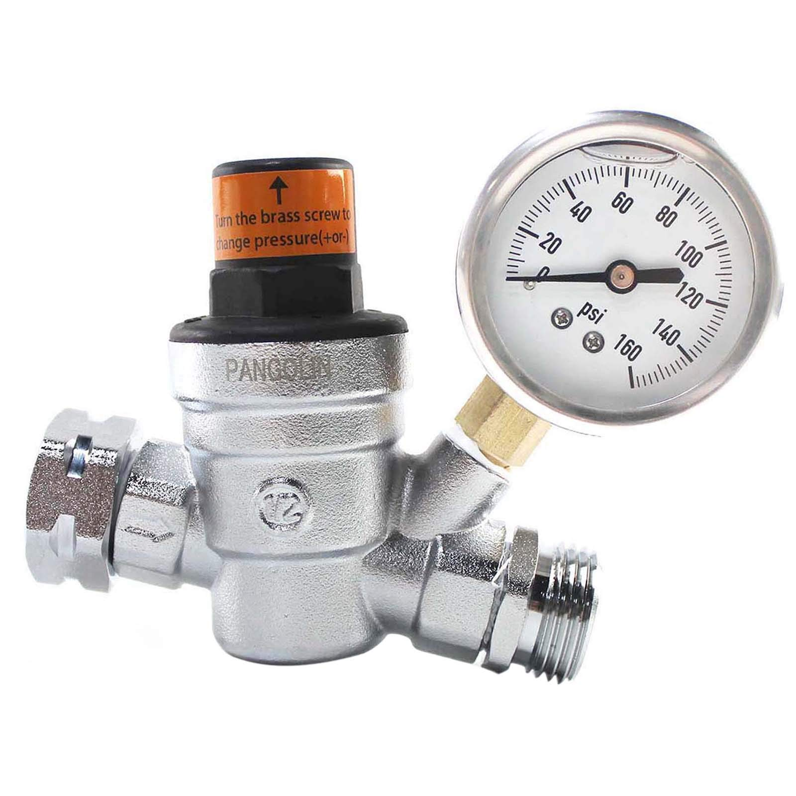 PANGOLIN Water Pressure Regulator Valve with 160 PSI Gauge and Inlet Stainless Screened Filter RV Regulator Valve, 3/4'' NH Lead-Free Brass Adjustable Pressure Regulator for RV Camper, 2 Years Warranty by PANGOLIN