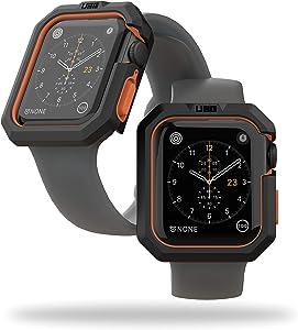 URBAN ARMOR GEAR UAG Compatible Apple Watch Case, 44mm, iWatch Series 6/5/4 & Watch SE, Civilian Rugged Protective TPU Bumper Case, Black/Orange