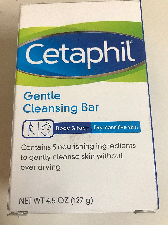 Cetaphil Gentle Cleansing Bar for Dry/Sensitive Skin 4.50 oz (Pack of 5)