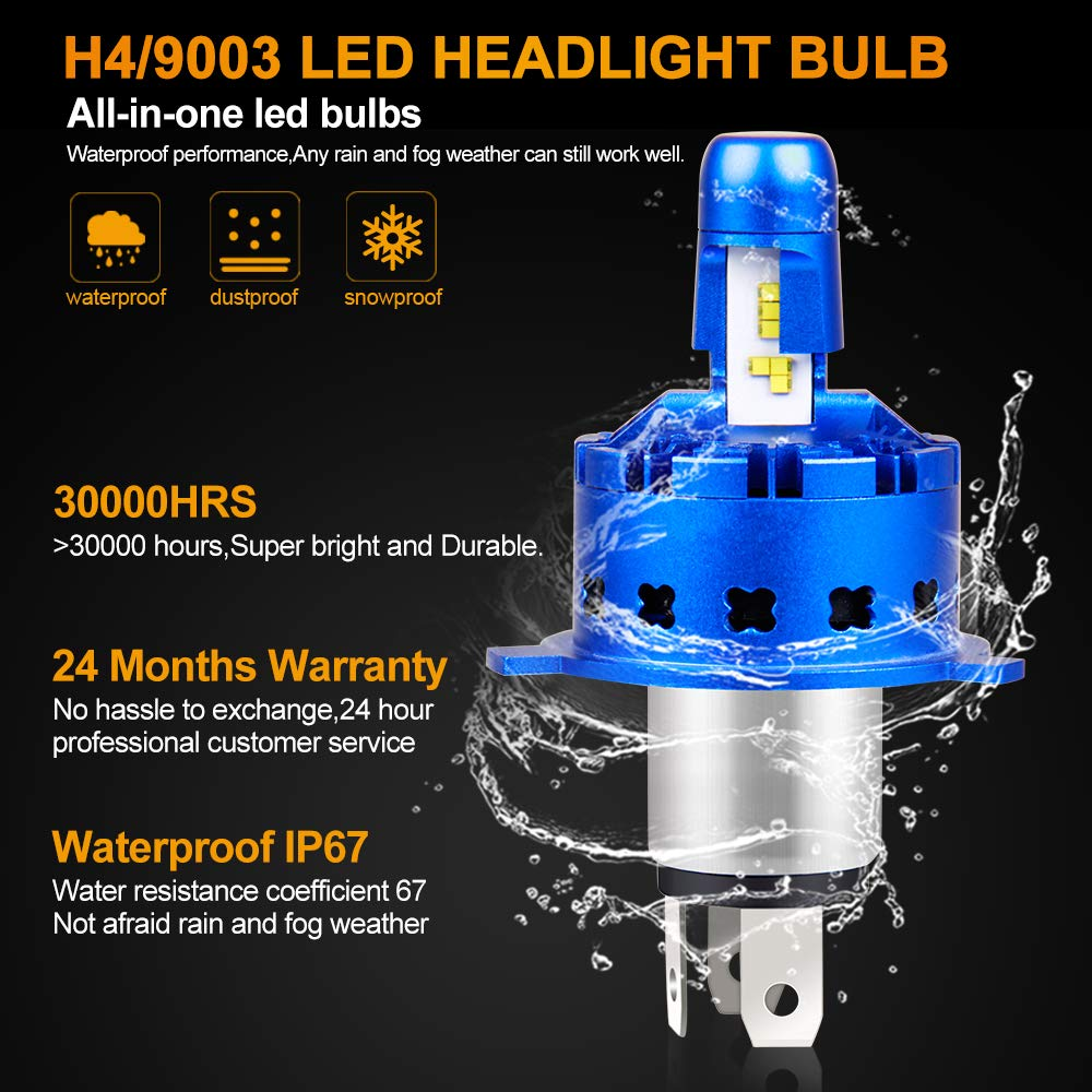 24 Months Warranty Anti Glare 6000K Hb2 LED Bulbs Cooler White Philips CarBole H4 LED Headlight Bulb Hi//Lo Beam 12000LM 50W Ultra Bright 9003 Headlight Conversion Kit All-in-one ZES Chips