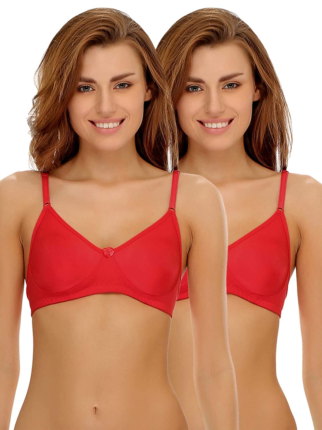 Clovia Women's Pack of 2 Cotton Rich Non-Padded Wirefree T-Shirt Bra in Multicolor