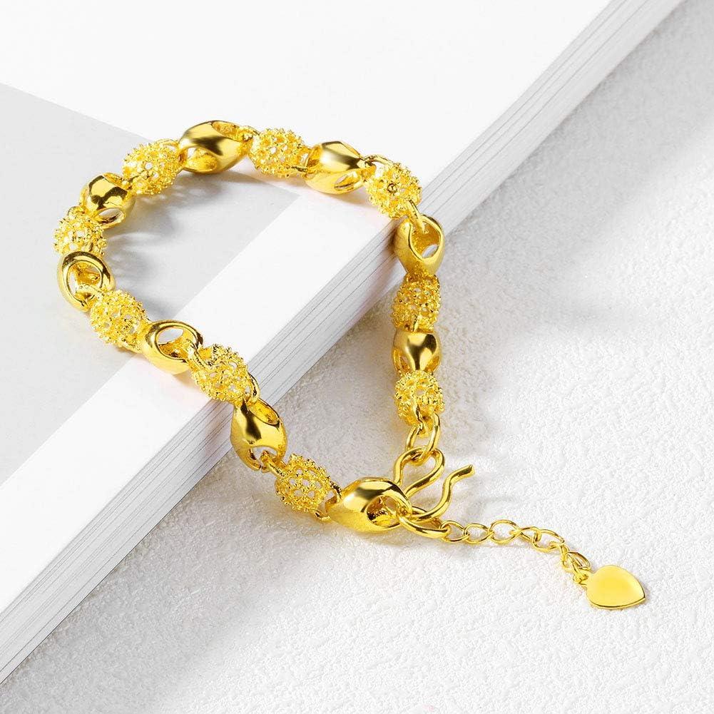 4 Cm 1.6In Longueur R/églable Bijoux De Mode 7.5 Bijoux /À Vie Bracelet en Or V/éritable 24 Carats Jaune Or Jaune pour Femmes Bracelets 19