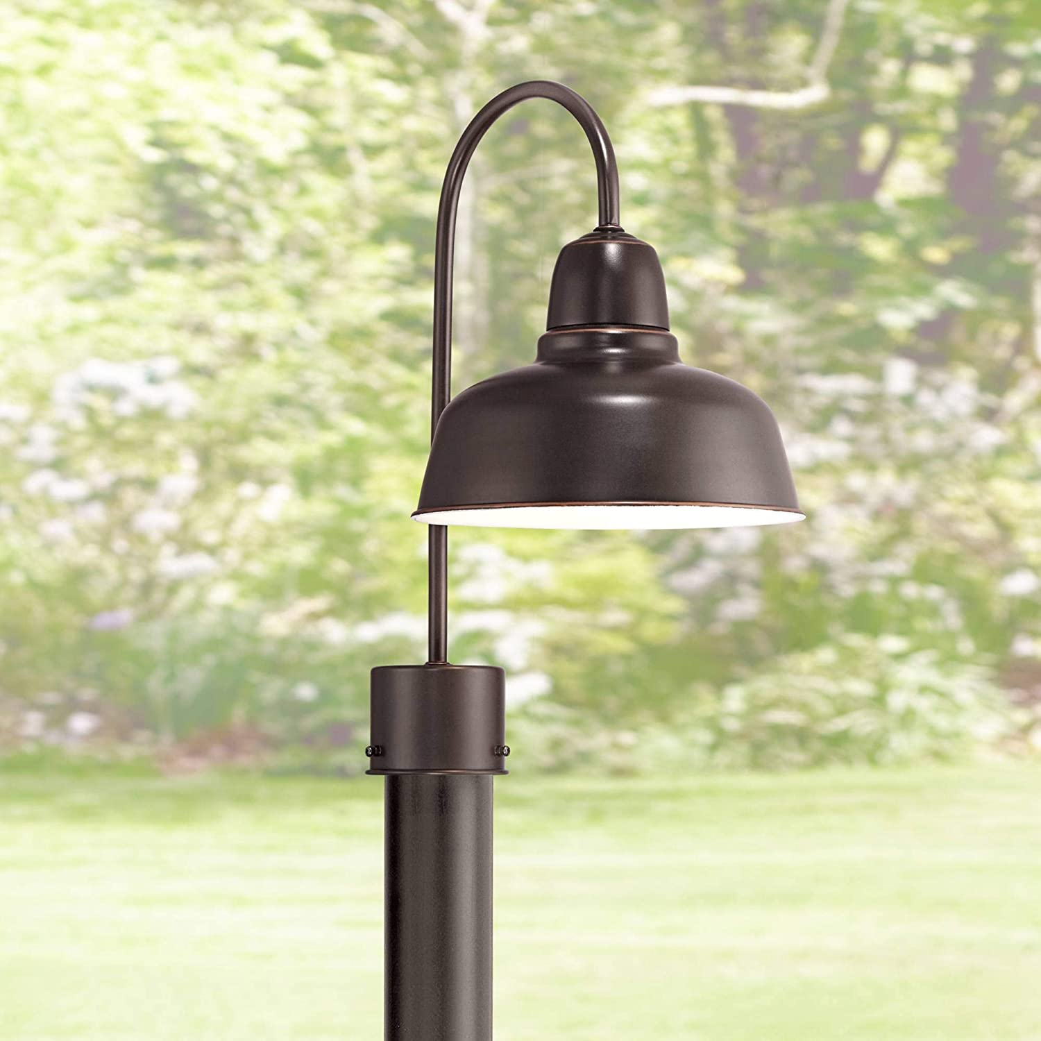 "Urban Barn Industrial Outdoor Post Light Fixture Oil Rubbed Bronze 15 3/4"" for Exterior Garden Yard Patio Pathway"