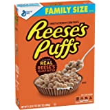 Reeses Puffs Breakfast Cereal, Peanut Butter, 22.9 oz, Family Size Cereal Box
