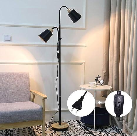 Lámpara de Pie Doble Cabeza Moderna Negra - ELINKUME Ajustable Cuello de Ganso LED Protección para los Ojos Lámpara de Lectura Interruptor de Botón ...