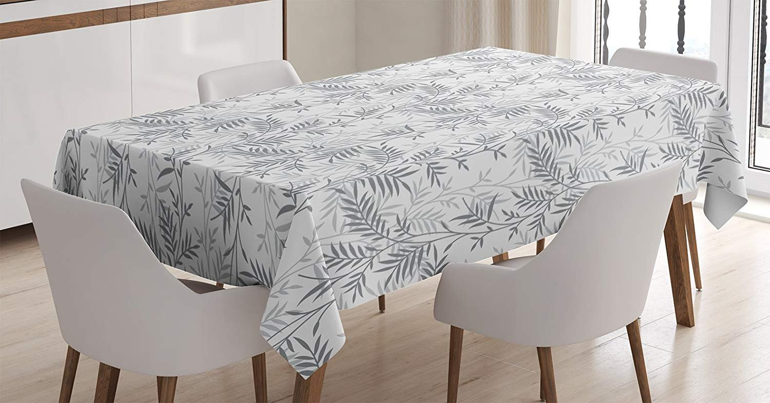 MIGAGA Grey Decor Tablecloth, Fancy Swirling Branch and Leave Patterns Antique Style Modern Decorative Luxury Print Home, Dining Room Kitchen Rectangular Table Cover, 52 X 70 inches, Gray White