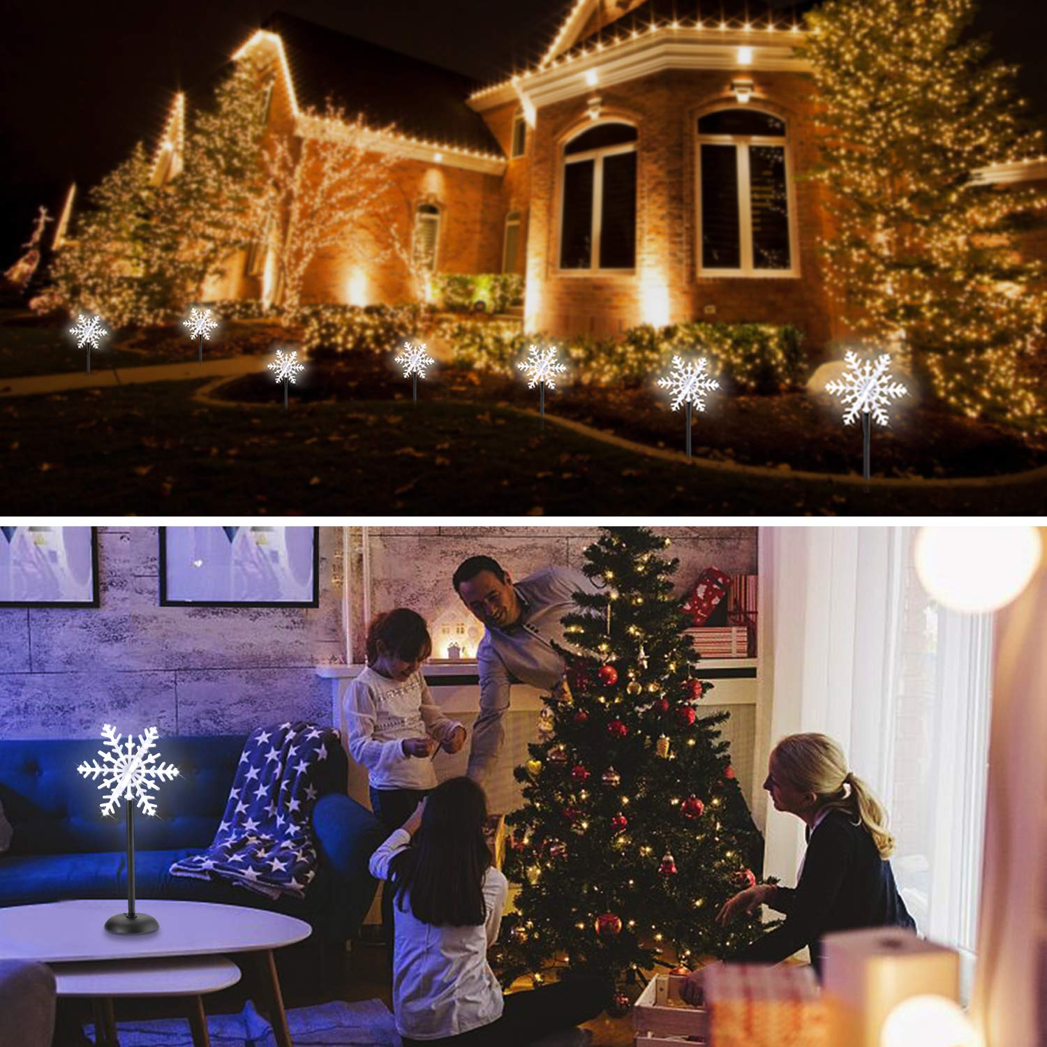 Christmas Star LED Garden Lights Snowflake Flash Lighting Stake Lights Outdoor Decoration Waterproof for Landscape Garden Lawn Patio Halloween Thanksgiving Christmas Party 2 Pcs