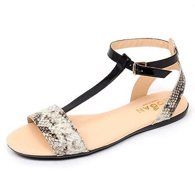 D0302 sandalo donna HOGAN VALENCIA scarpa effetto pitone nero/avorio shoe woman