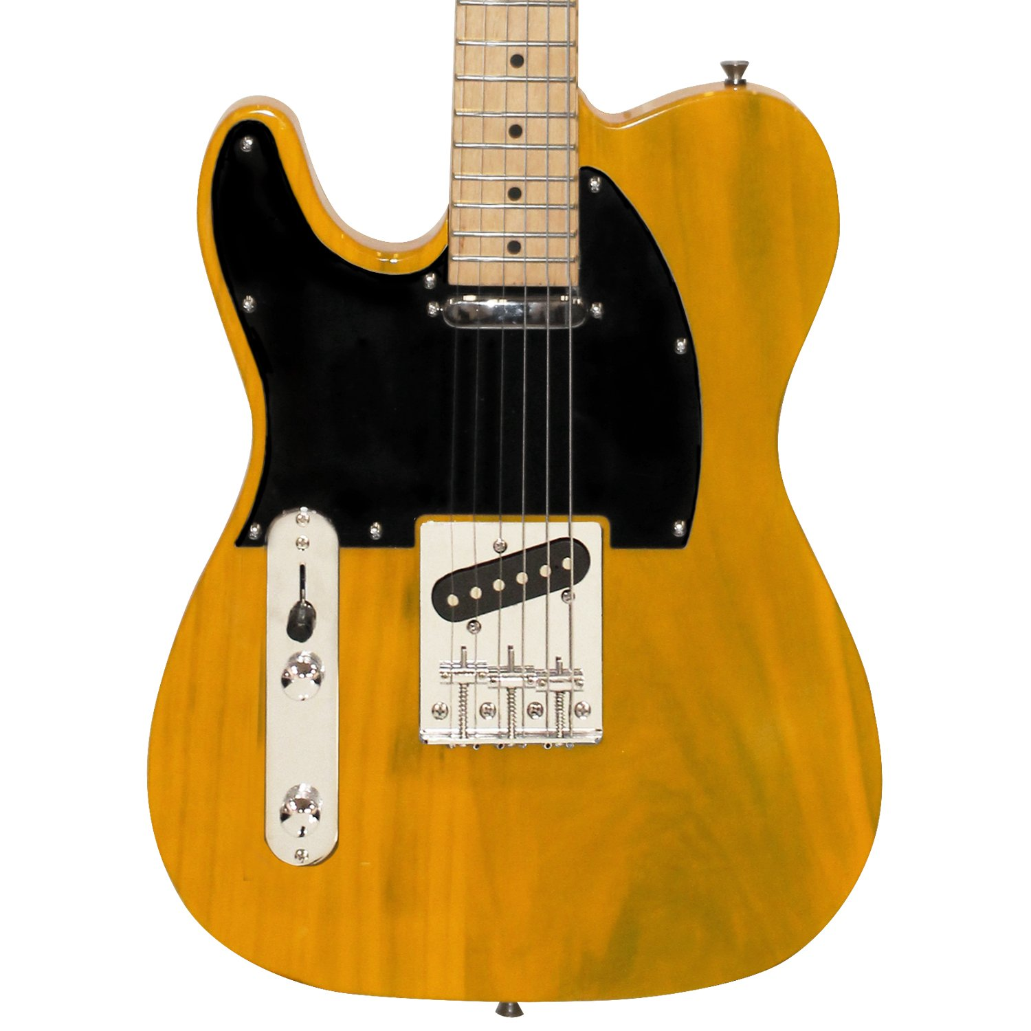 Sawtooth ST-ET-LH-BSB-KIT-2 Left Handed Electric Guitar, Butterscotch with Black Pickguard