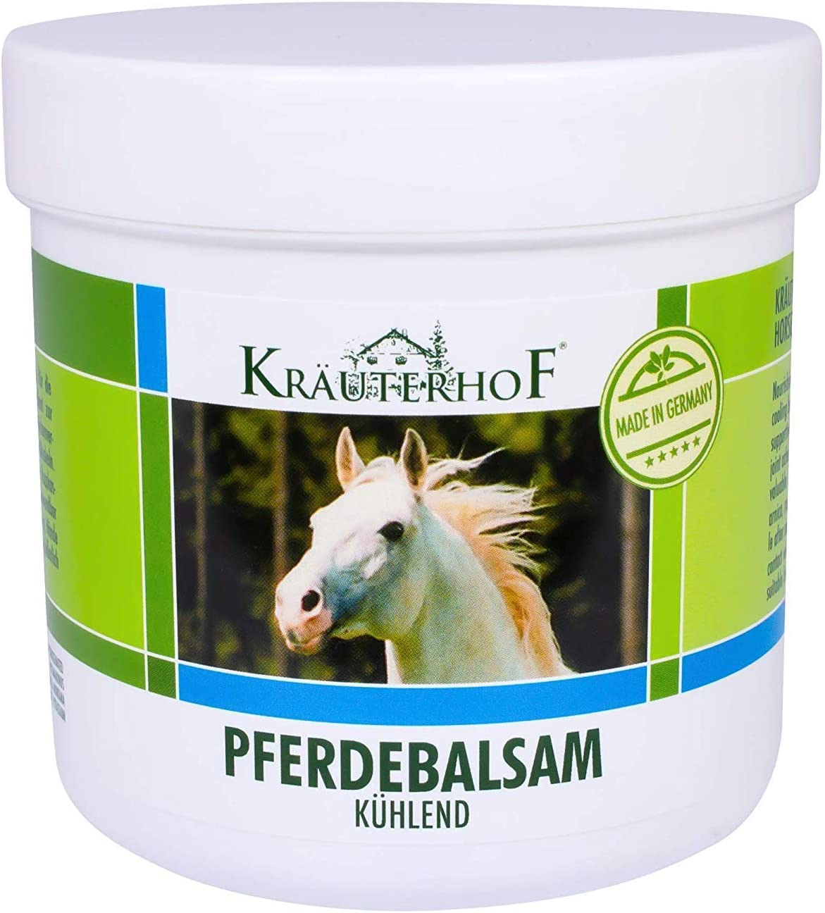 Kräuterhof Horse Balm Cools and Vitalises Precious Herbal Extracts from Horse Chestnut Arnica Rosemary and Mint Oil 250 ml Tub Sealed with Aluminum Foil