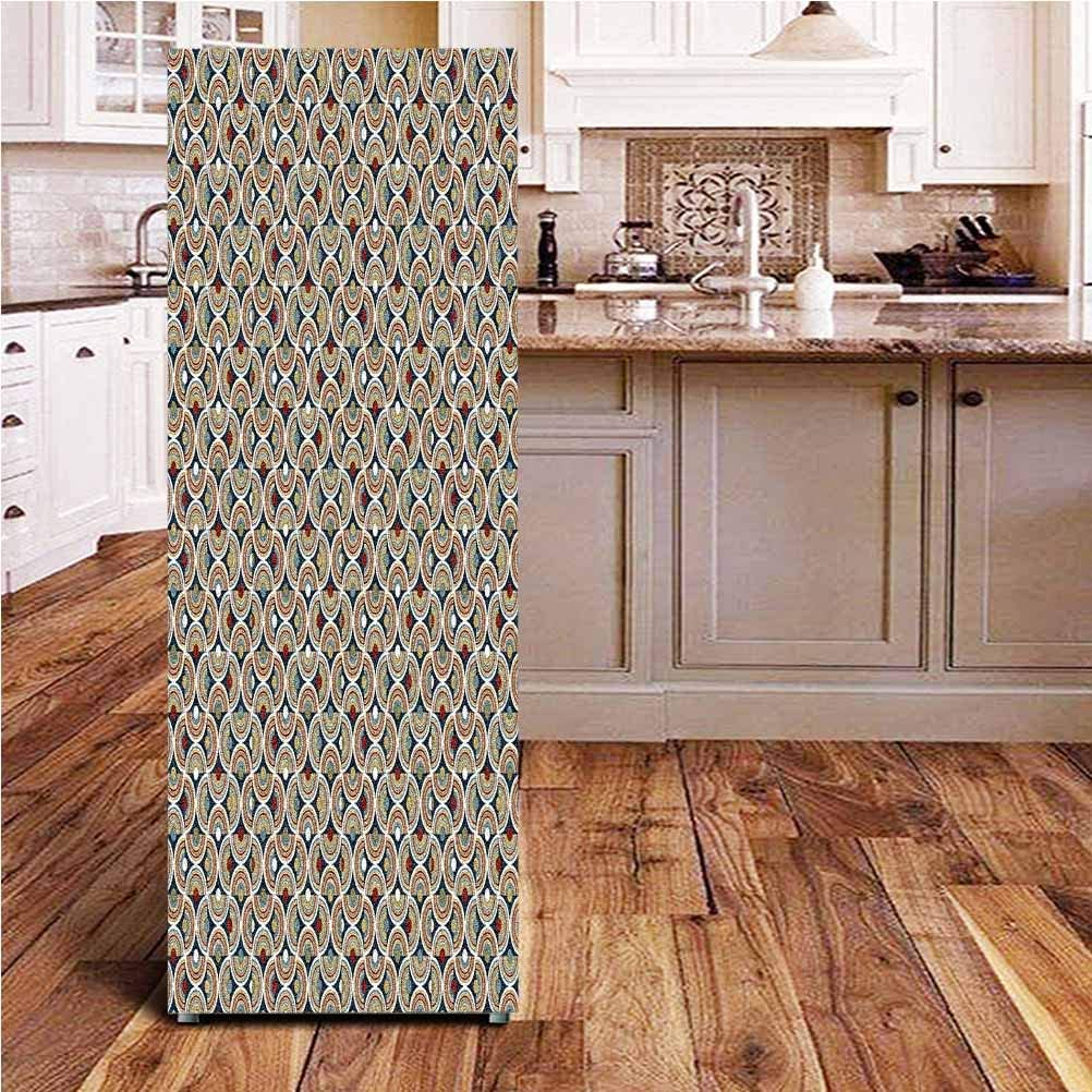 Angel-LJH Geometric 3D Door Fridge DIY Stickers,Abstract Mosaic with Half Spirals Forming Digital Circle Lace Display Door Cover Refrigerator Stickers for Home Gift Souvenir,24x59