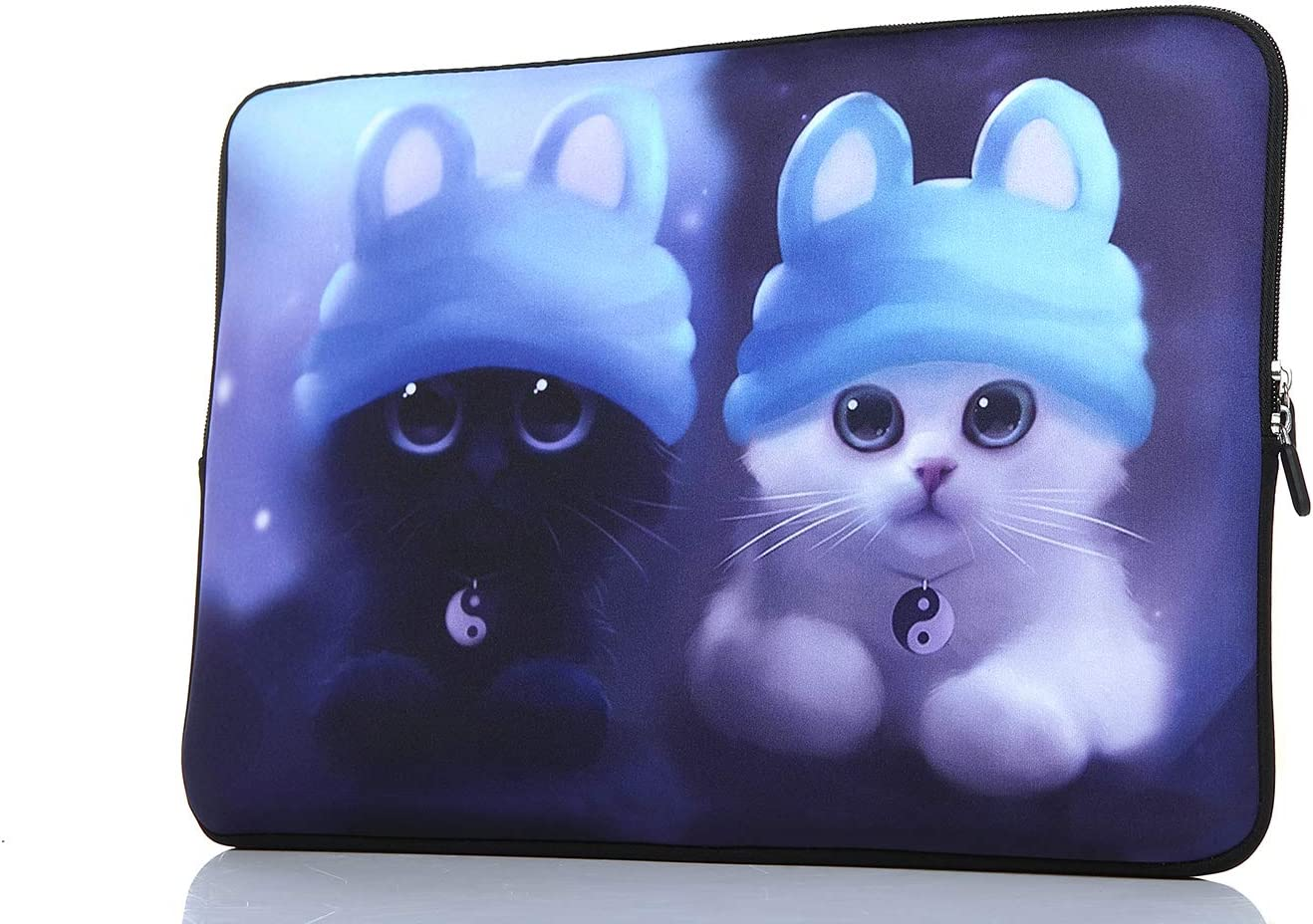 YIDA 15-15.6 Inch Laptop Sleeve Case Handle Bag Neoprene Cover, Blue cat