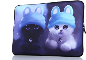 13.3-Inch to 14-Inch Laptop Sleeve Case Neoprene Carrying Bag with Hidden Handles for MacBook/Notebook/Ultrabook/Chromebooks (Blue Cat)