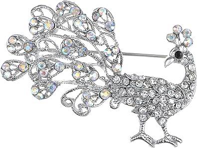 Pretty Pink Peacock Bird Silver Tone Brooch Pin Rhinestone Crystal Woman Jewelry