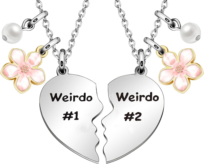 Maxforever Friendship Gifts, Weirdo 1 & Weirdo 2 Two Split Heart Pendant Necklaces, BFF Jewelry Necklace Set for Best Friend