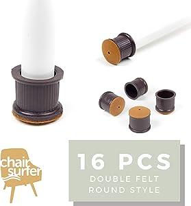 Chair Leg Caps Floor Protectors - (Round/16 Piece Set) | Double Felt for Easy Hardwood Floor Protection, No Noise, No Dust, Stronger Grip (24-25mm)