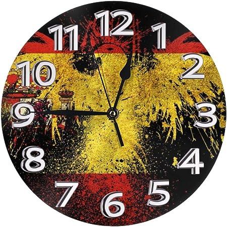 N/A Reloj de pared moderno con diseño de bandera española que funciona con pilas, silencioso, sin tictac, para casa, sala de estar, dormitorio, escuela, reloj de pared para niños: Amazon.es: Hogar