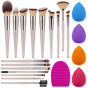 Syntus Makeup Brush Set, 16 Makeup Brushes & 4 Blender Sponges & 1 Brush Cleaner Premium Synthetic Foundation Powder Kabuki Blush Concealer Eye Shadow Makeup Brush Kit, Champagne Gold