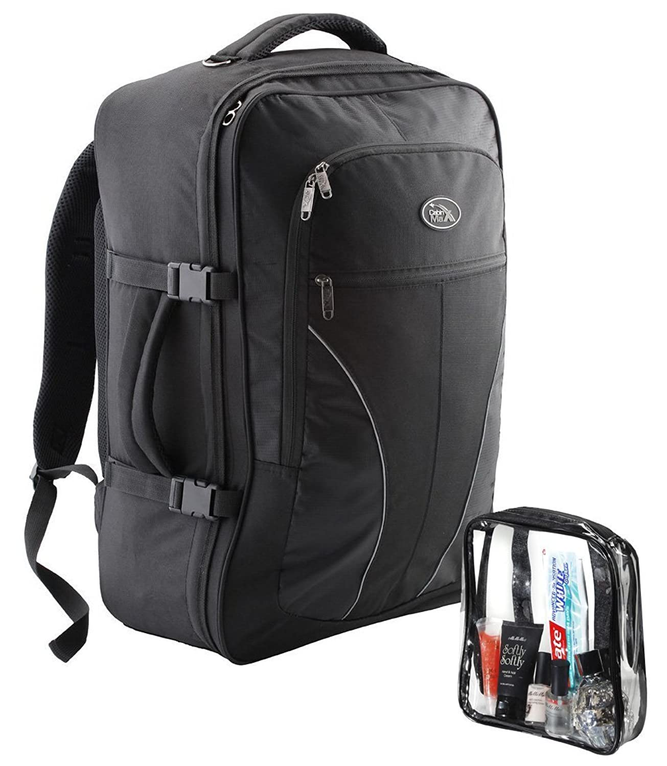 Gentil Amazon.com: Cabin Max Palermo Carry On Luggage Cabin Bag Detachable  Toiletry Bag 44 Litres (Black): Clothing