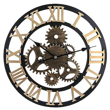 MRKE 58CM XXXL Grande Reloj Pared Vintage Silencioso Madera 3D Roma Retro Gear Design Reloje de pared para Cocina/salón/Dormitorio/Baño/Oficina (Dorado 6 ...