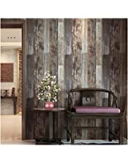 """HaokHome 5003 Weathered Faux Wood Plank Un-prepasted Wallpaper Slategray/Brown 20.8"""" x 31ft Barnwood Wallpaper Murals Home Kitchen Bathroom Decoration"""