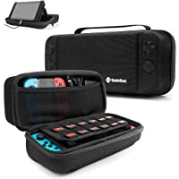 tomtoc Protective Case for Nintendo Switch Hard Shell Travel Storage Carrying Case Cover Box with 18 Game Cartridges and Handle for Nintendo Switch Console and Accessories - New Arrival, Black