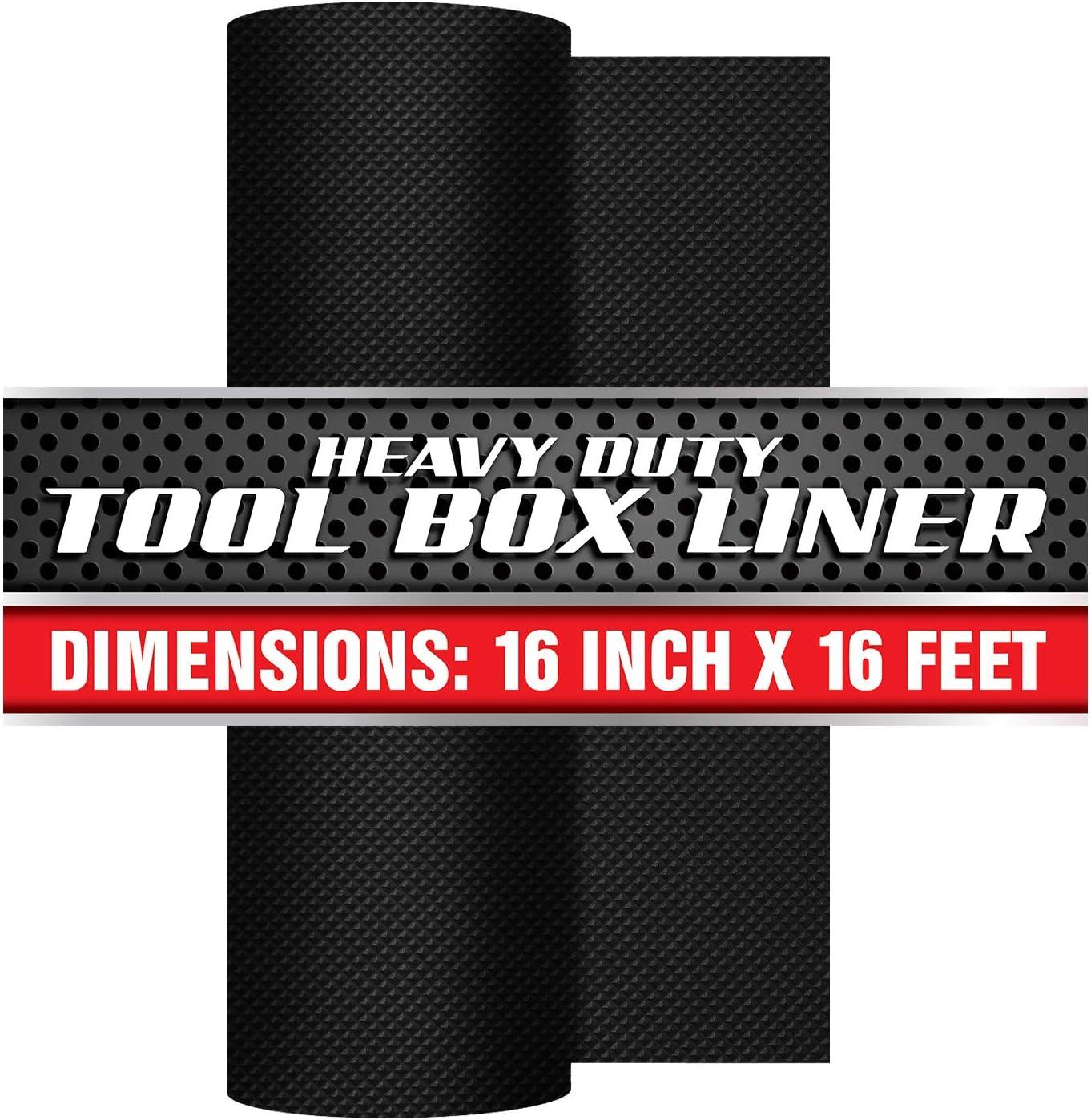"Precision Defined Professional Grade Tool Box Liner, 16"" x 16 ft, Black | Non-Slip Thick Cabinet Shelf Liner"