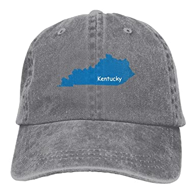 the latest 88150 68be9 HNE NQA Denim Baseball Cap Kentucky State Map Unisex Baseball Cap Adjustable  Plain Cap at Amazon Men s Clothing store
