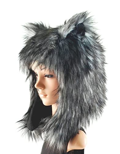 02c8935941c87 Amazon.com  Grey Husky Wolf Hat Faux Fur Animal Hat  Handmade