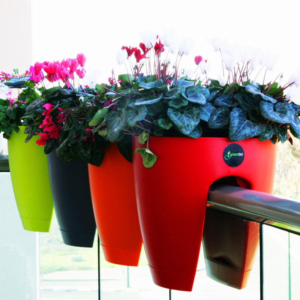 Greenbo Deck Rail Planter Box with Drainage trays, round 12-Inch, Color Red- Set of 2 by Greenbo (Image #4)