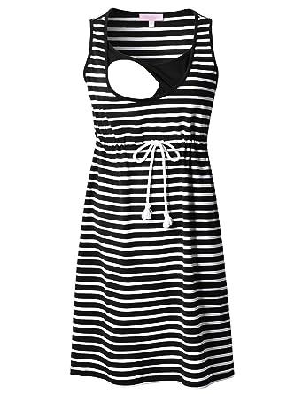1c6e62ffbf Bhome Nursing Tank Dress Striped Maternity Sleeveless Breastfeeding Dress  Knee Length S