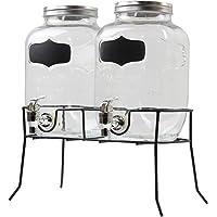 Doble dispensador de bebidas de cristal de 4