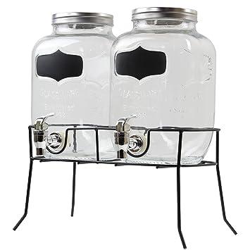 Doble dispensador de bebidas de cristal de 4 litros con grifos en un soporte de metal: Amazon.es: Hogar